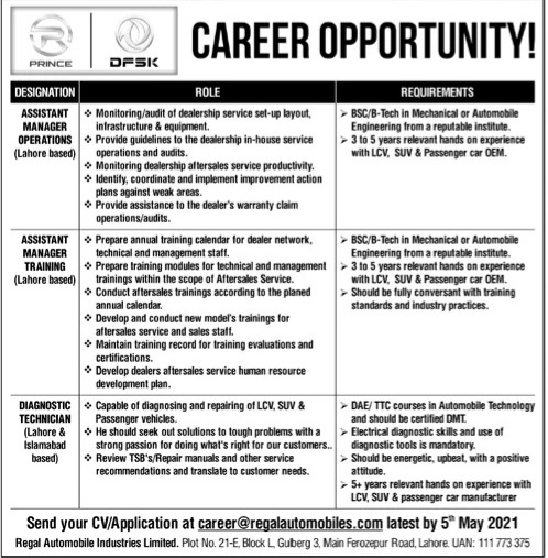 Regel Automobiles industries limited jobs 2021 latest advertisement