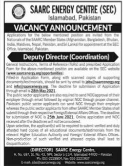 Saarc Energy Centre Islamabad jobs 2021 Latest advertisement