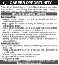 Premier Group of Companies Jobs for Manager Farms May 2021 Advertisement