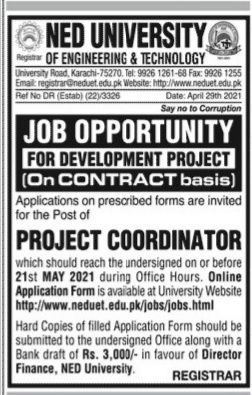 NED University Of Engineering & Technology Karachi May Jobs 2021 Contract Basis For Project Coordinator Apply Online