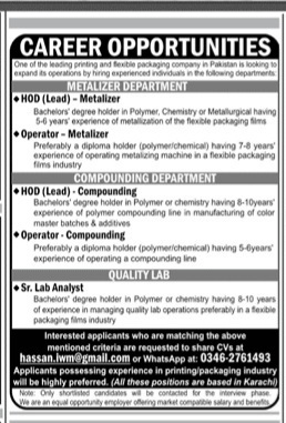 Karachi Jobs for Metalizer Department, Compounding Department & Quality Lab May 2021 Advertisement