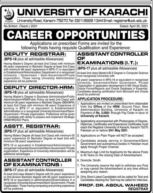 University Of Karachi Jobs 2021 For Deputy Registrar/Director.HRM,Asstt.Registrar, Assistant Controller Of Examination/I.T May Latest