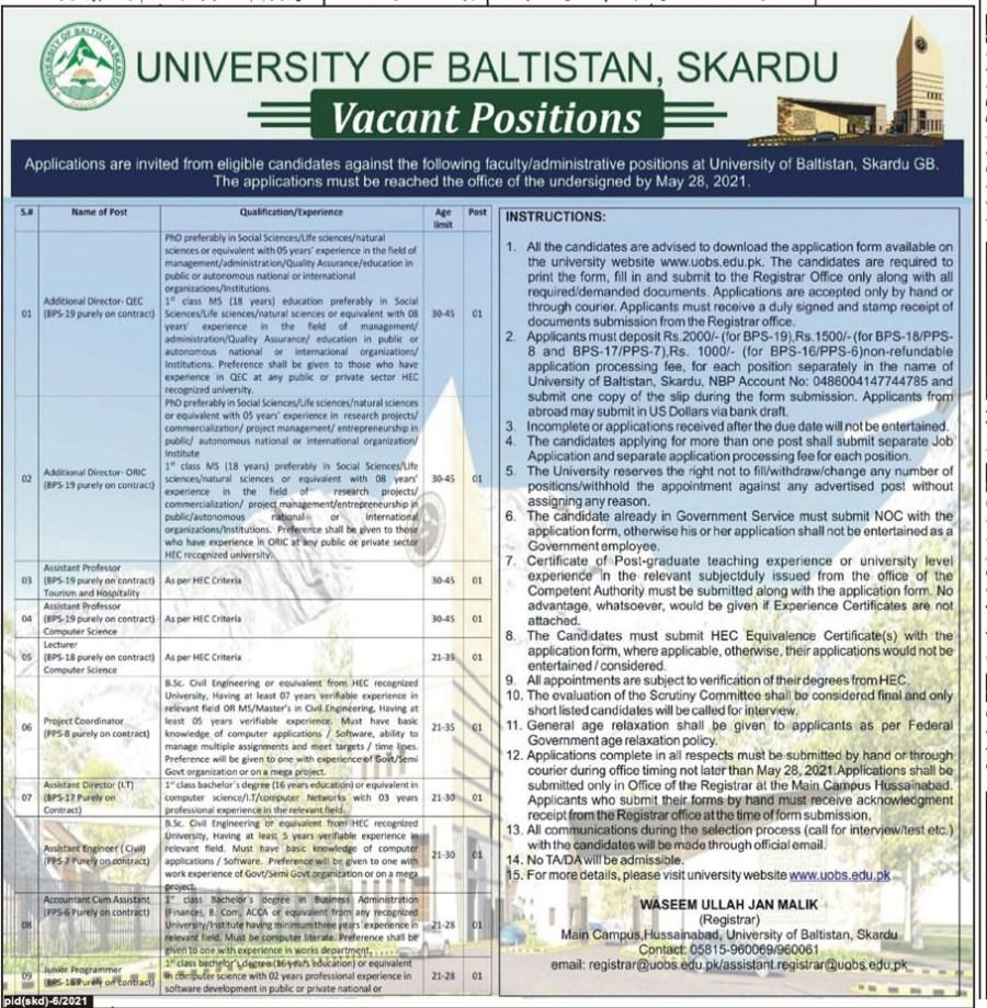 University Of Baltistan, Skardu May Jobs 2021 For Additional Driestor-QEC/QRJC,Assistant Professor,Lecturer,Project Coordinator,Assistant Director,Assistant Engineer,Accountant Cum Assistant Apply Online