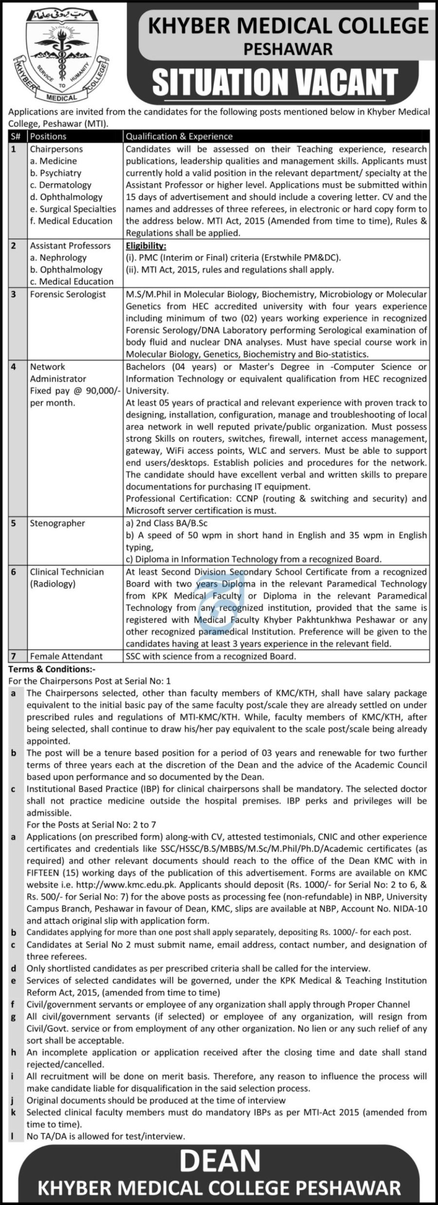 Khyber Medical College Peshawar May Jobs 2021 For Chair Persons,Assistant Professor,Network Administrator,Stenographer,Clinical Technician Apply Online