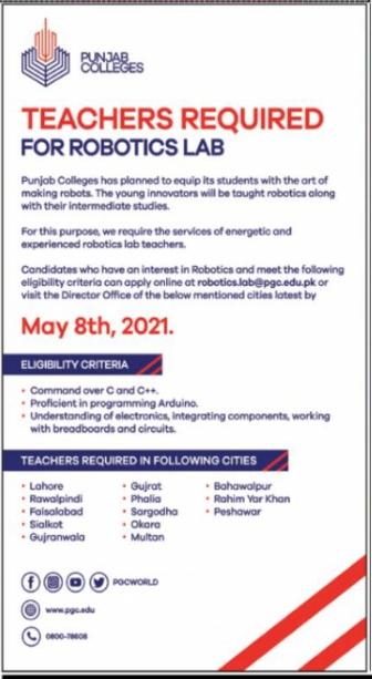 Punjab College Teachers Required for Robotics Lab 2021 Latest