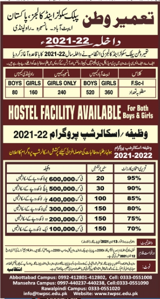 Tameer e watan public school and college Admissions 2021
