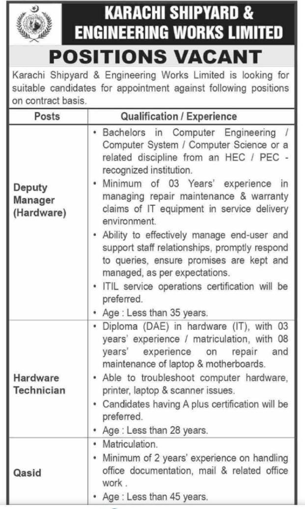 Karachi Shipyard Engineering Works Limited Jobs for Deputy Manager, Hardware Technician & Qasid May 2021 Advertisement