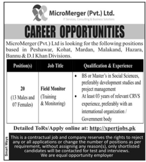 MicroMerger( Pvt.) Ltd. Pakistan May Jobs 2021 For Field Monitor Apply Online