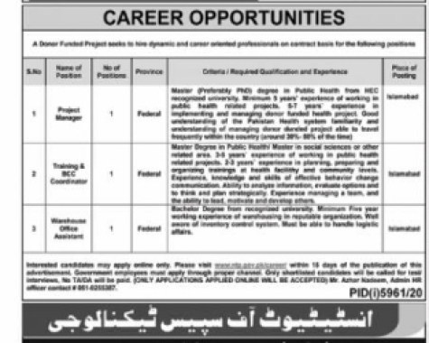 Institute of Space Technology Jobs 2021 Latest Advertisement