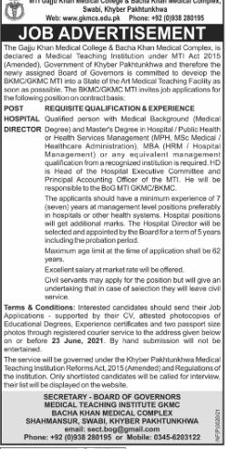 The gajju khan medical college jobs 2021