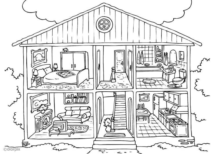 coloriage maison interieur