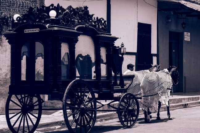 The funeral carriage Granada's streets, Nicaragua