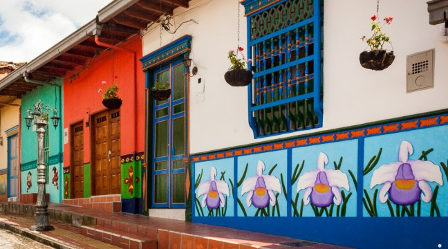The colorful art of the facades Guatape, Antioquia, Colombia