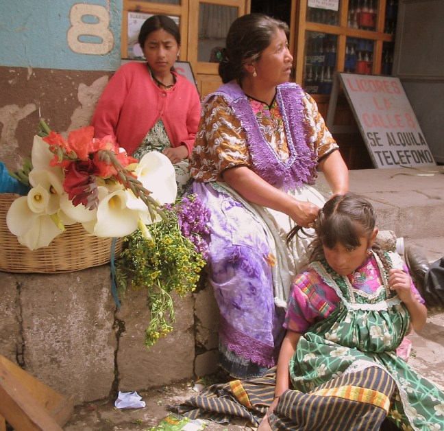 Mother and daughters Las Flores Market, Quetzaltenango, Guatemala