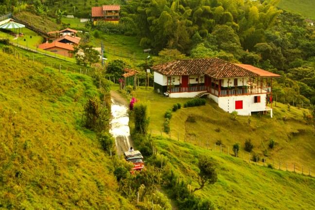 Paisajes de guada y café Pueblo Bonito, Caldas, Colombia