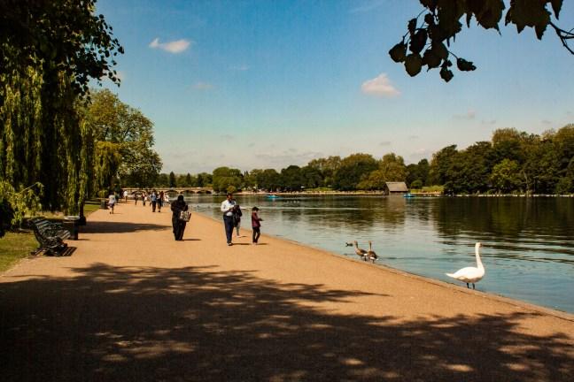 A la orilla del lago Hyde Park, Londres, UK