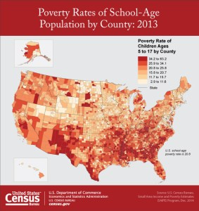 Poverty Rate of Children Ages 5 to 17 by County