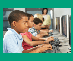 Kids learning with computers