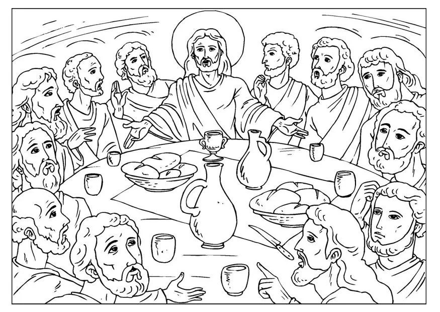 Coloring Page Last Supper Img 25923