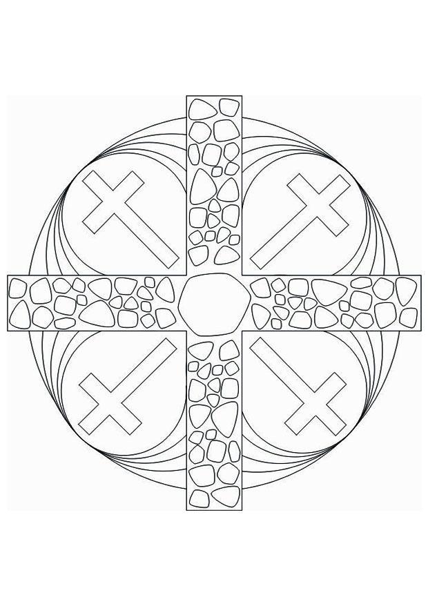 Coloring Page Mandala Cross Img 16437