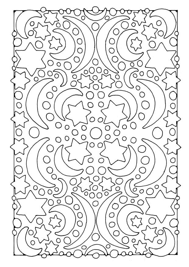 coloring page night  moon and stars  free printable