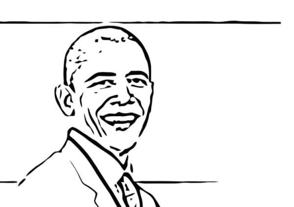 barack obama coloring page # 41