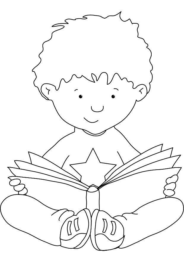 Coloring Pages Children Reading