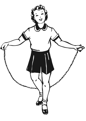Coloring page girl with skipping rope