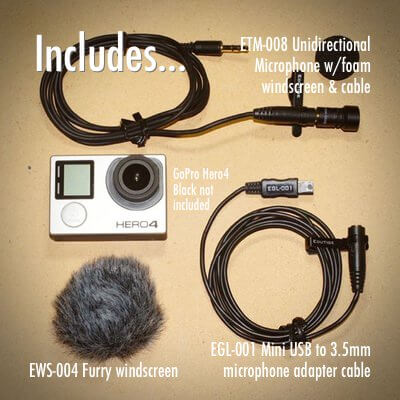 ETM-008 external microphone for GoPro Hero4 Hero3+ Hero3