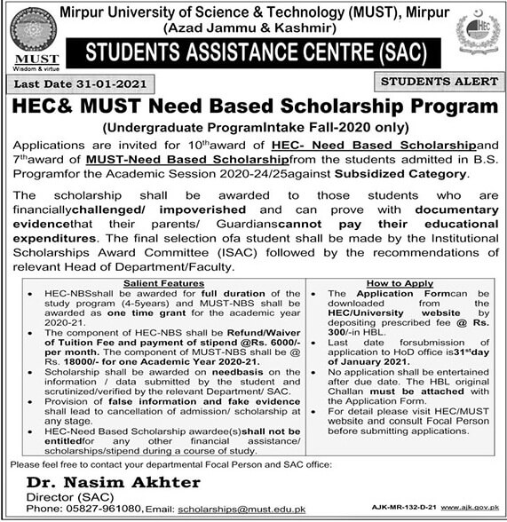 Must And Hec Need Based Scholarships