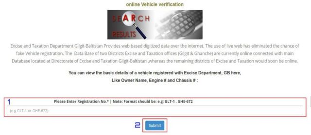 Verify Gilgit Baltistan Vehicles Online