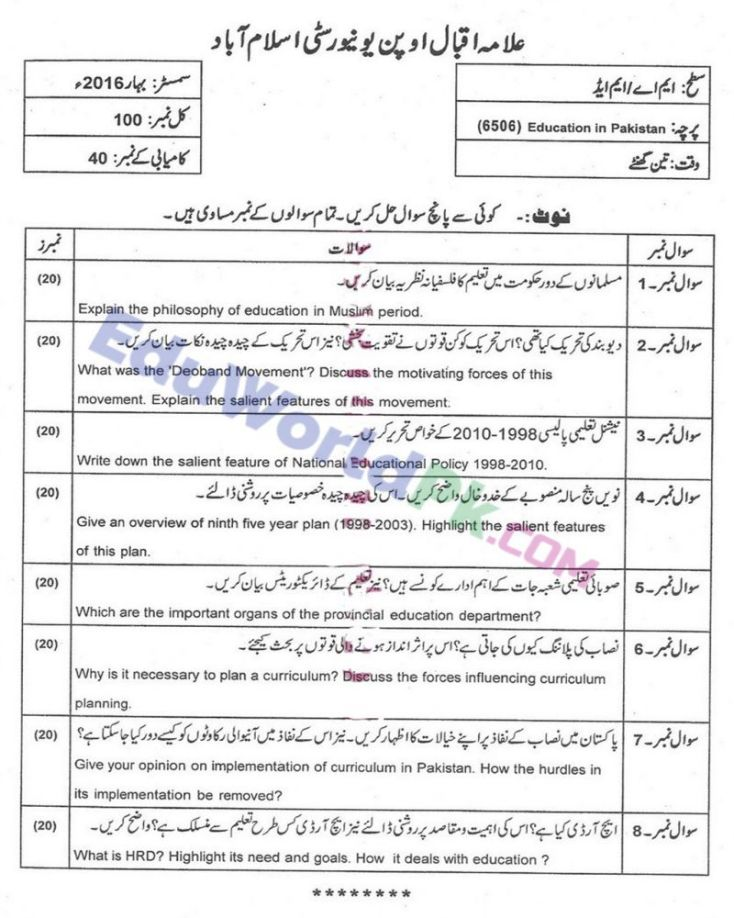 AIOU-MEd-Code-6506-Past-Papers-Spring-2016