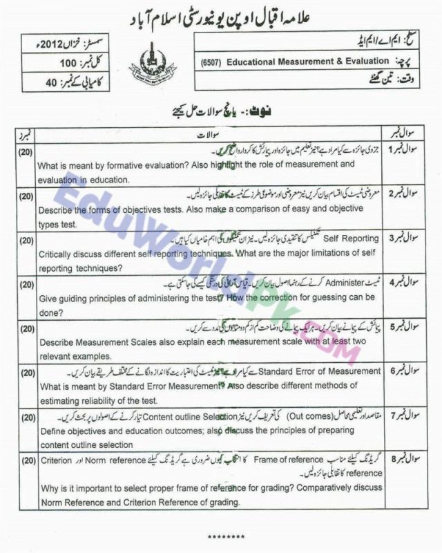 AIOU-MEd-Code-6507-Past-Papers-Autumn-2012