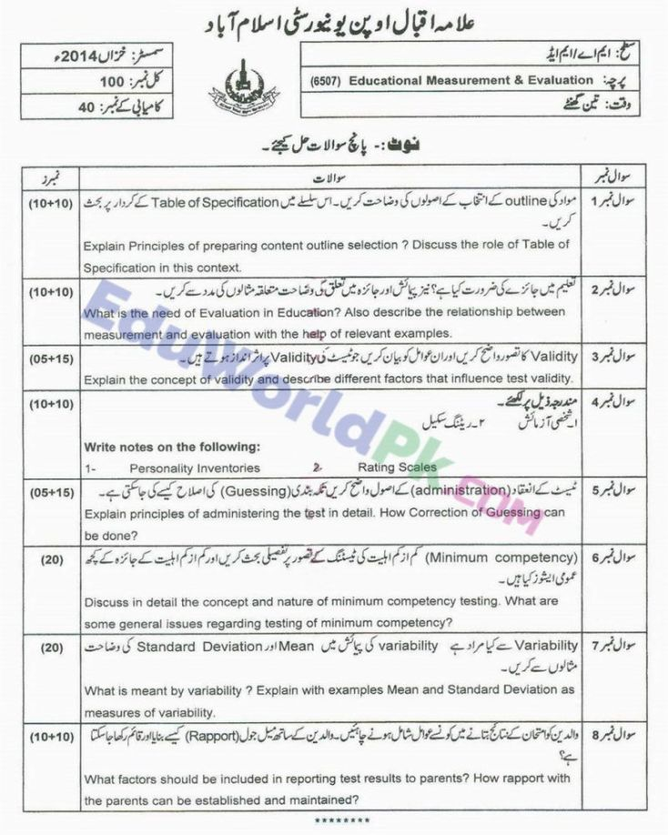 AIOU-MEd-Code-6507-Past-Papers-Autumn-2014