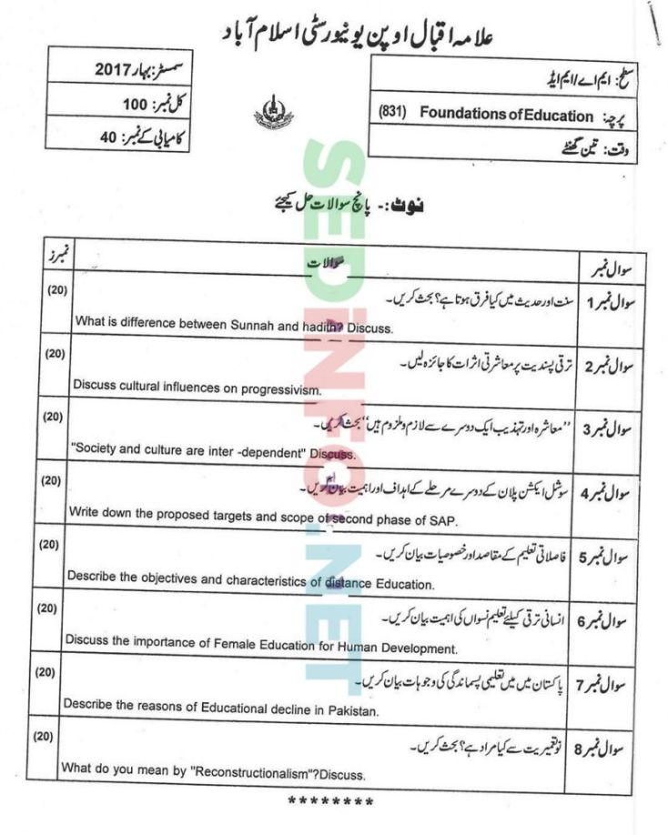 AIOU-MEd-Code-831-Past-Papers-Spring-2017