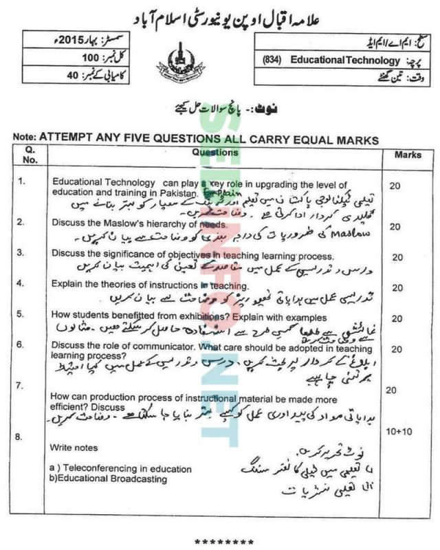 AIOU-MEd-Code-834-Past-Papers-Spring-2015