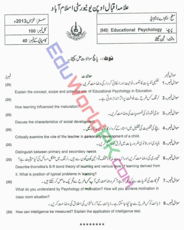 AIOU-MEd-Code-840-Past-Papers-Autumn-2013