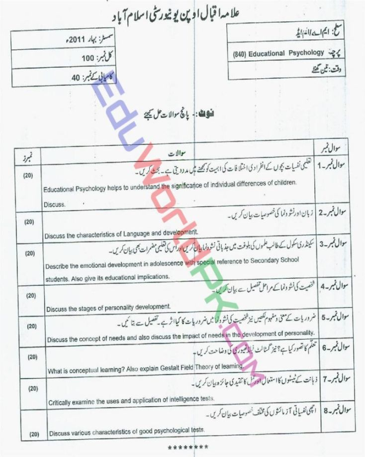 AIOU-MEd-Code-840-Past-Papers-Spring-2011