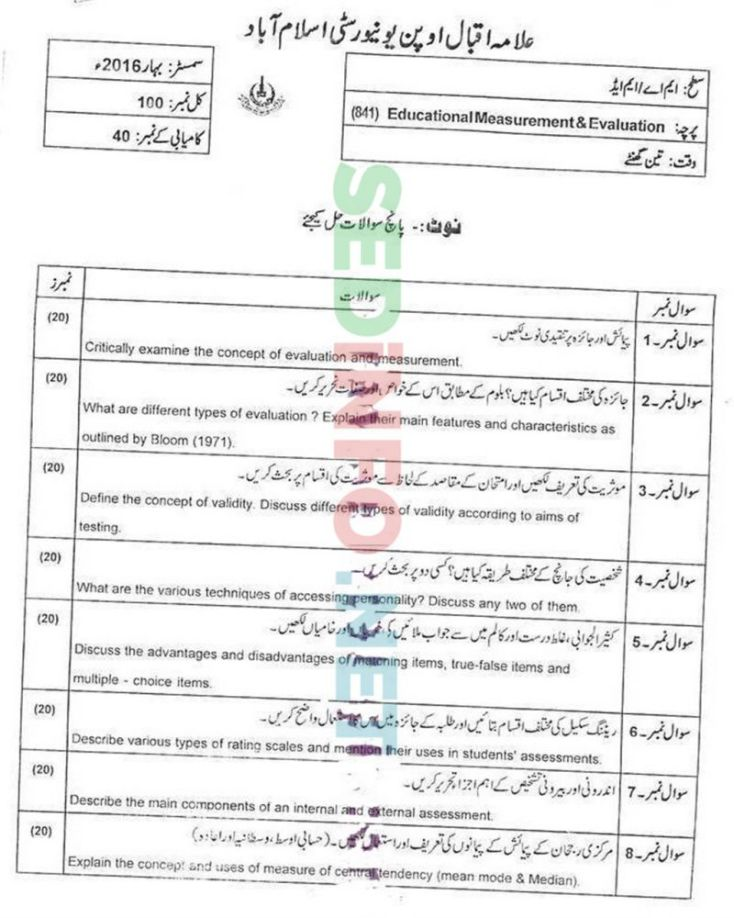 AIOU-MEd-Code-841-Past-Papers-Spring-2016