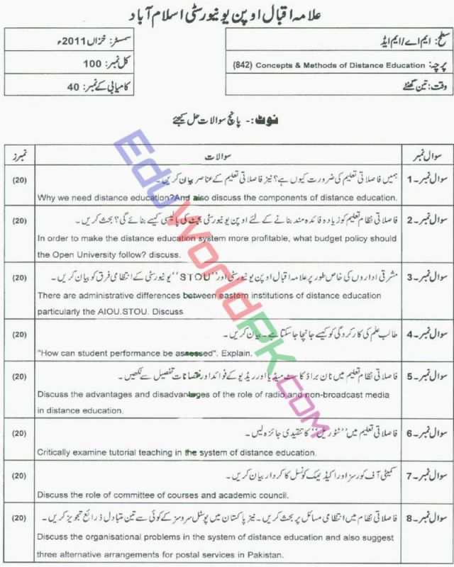 AIOU-MEd-Code-842-Past-Papers-Autumn-2011