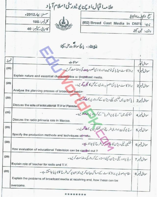 AIOU-MEd-Code-852-Past-Papers-Spring-2012
