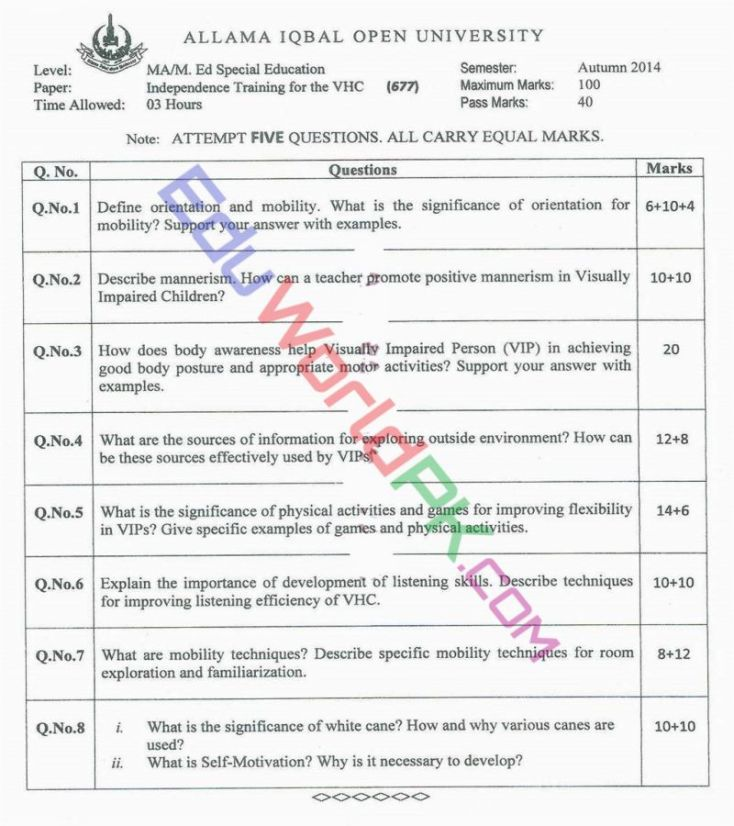AIOU-MEd-Code-677-Past-Papers-Autumn-2014