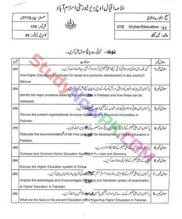 AIOU-MEd-Code-828-Past-Papers-Spring-2016