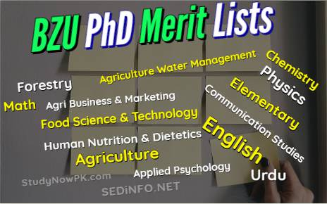 BZU Multan PhD Merit Lists Latest FI