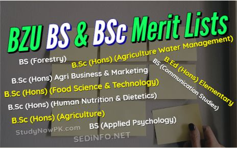 Download BZU BS & BSc Admission Merit Lists Latest fi