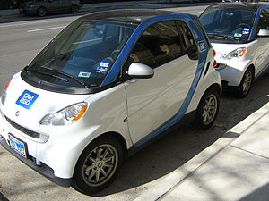 Two Smart Fortwo cars in the fleet of car sharing company Car2Go fleet