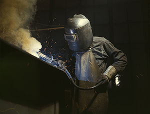 It doesn't get more blue collar than this welding job
