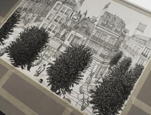 Eerste fase van de realisatie van 'la rue principale'; de pentekening