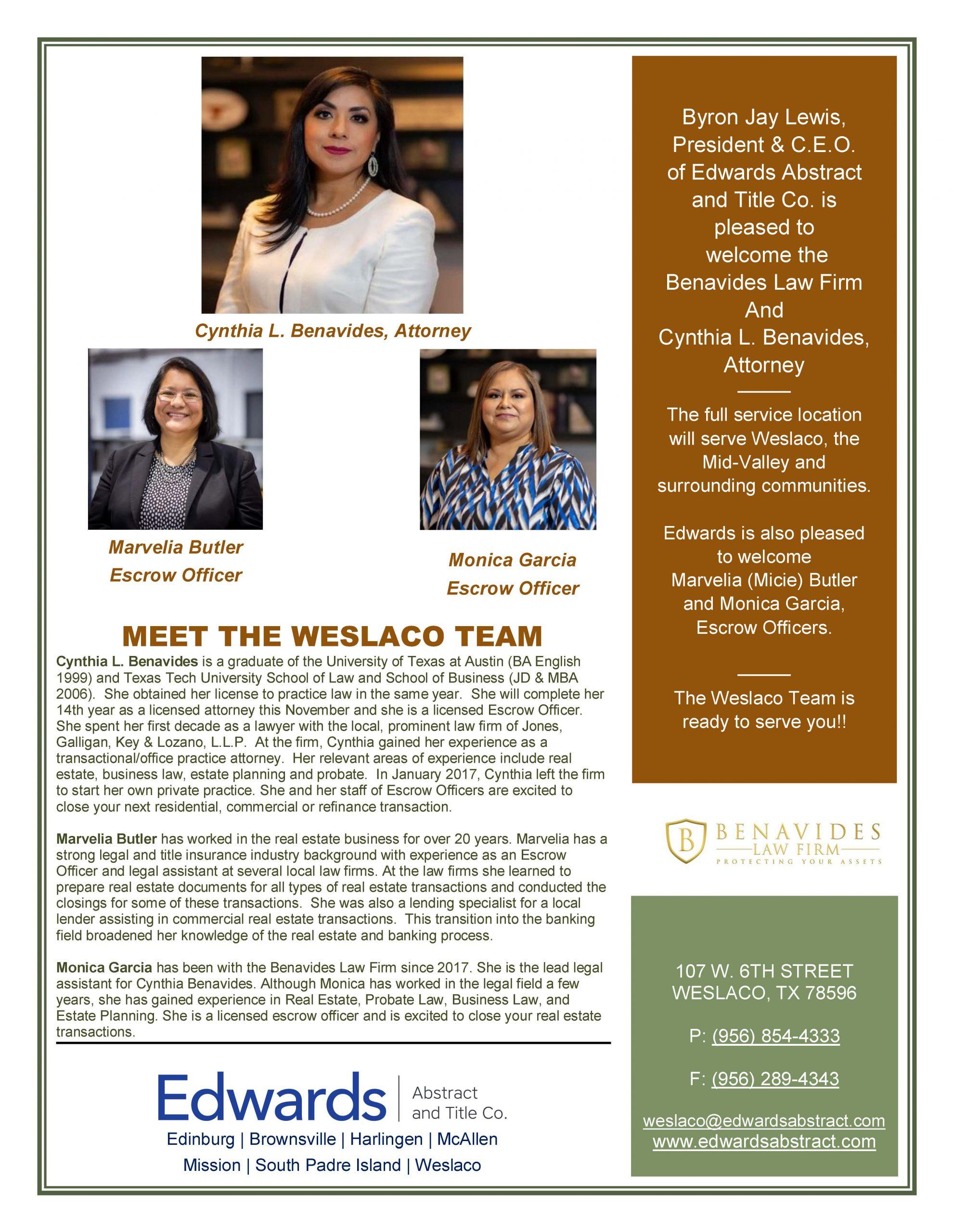 Edwards welcomes Weslaco Team!