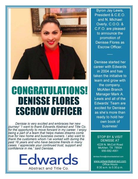 Edwards' Newest Escrow Officer  Denisse Flores